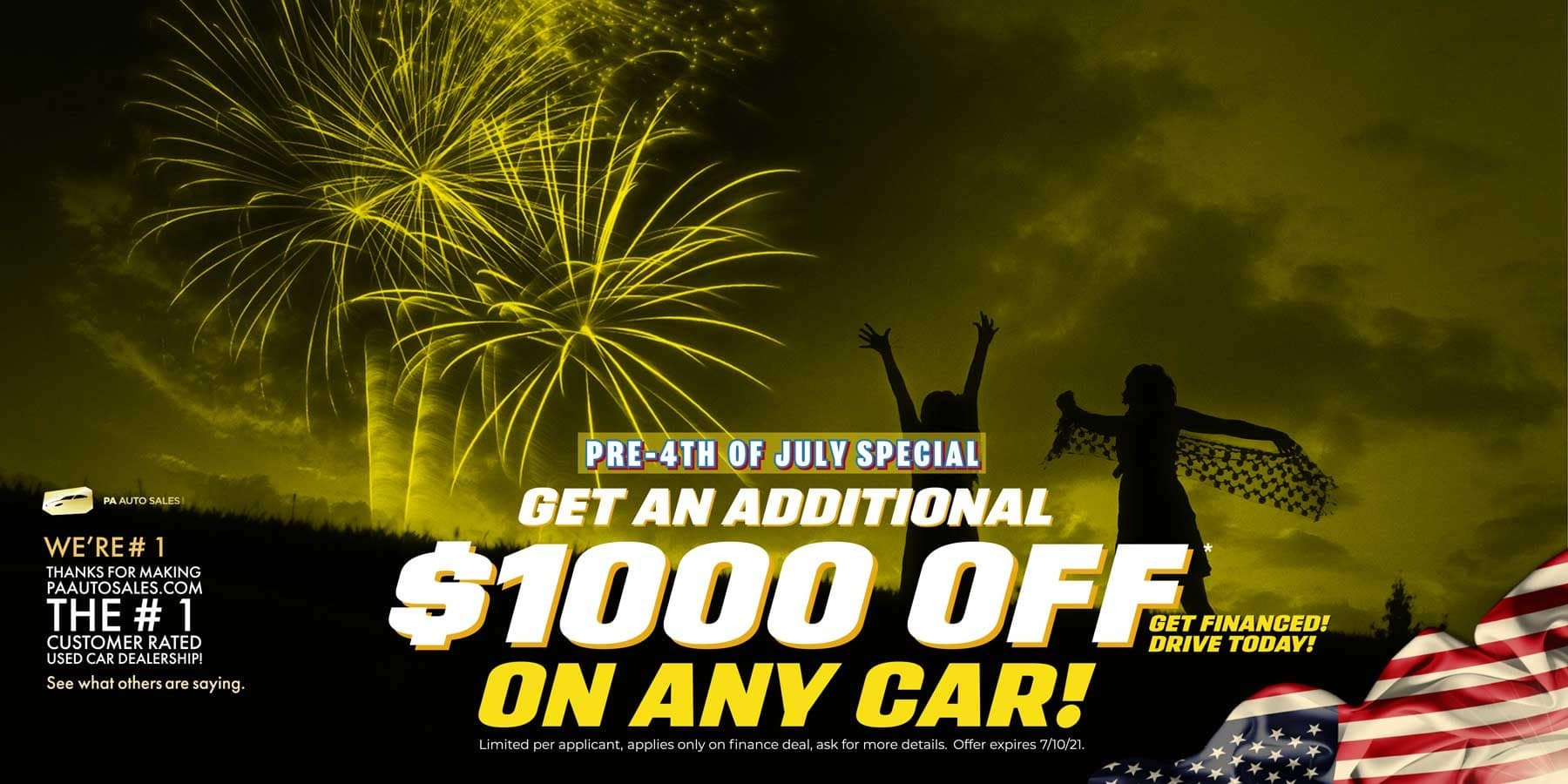 The 4th of July. $1,000 Off On Any Car! Any Finance Deal!