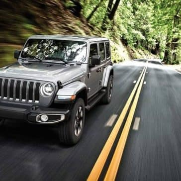 2019 Jeep Wrangler driving on forest road