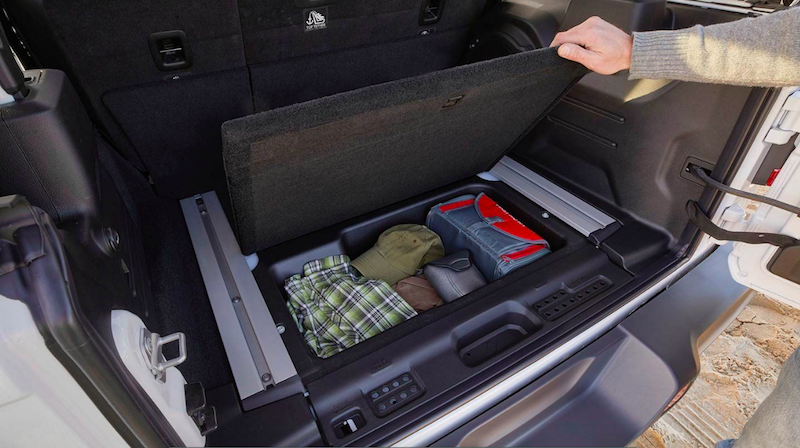 Storage box in the trunk of a Wrangler