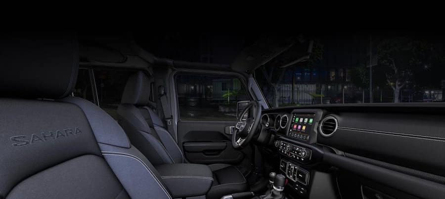 Dark gray Jeep Wrangler front seat interior