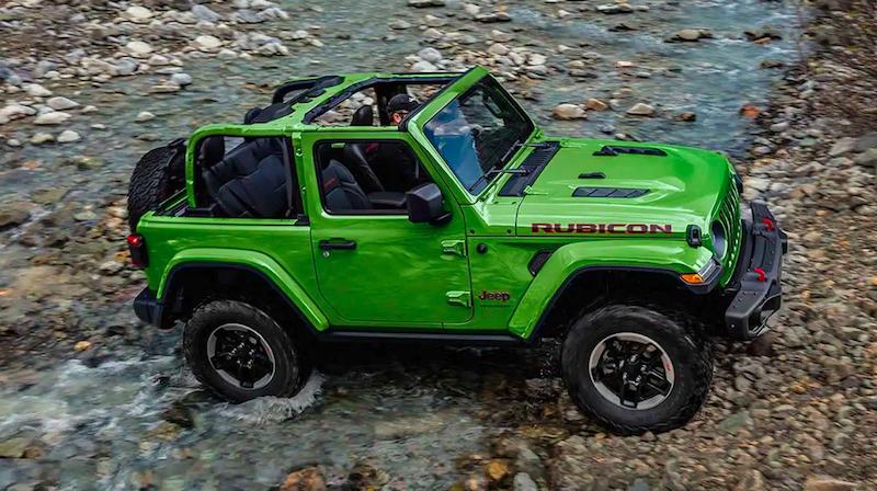 Lime green Jeep Wrangler