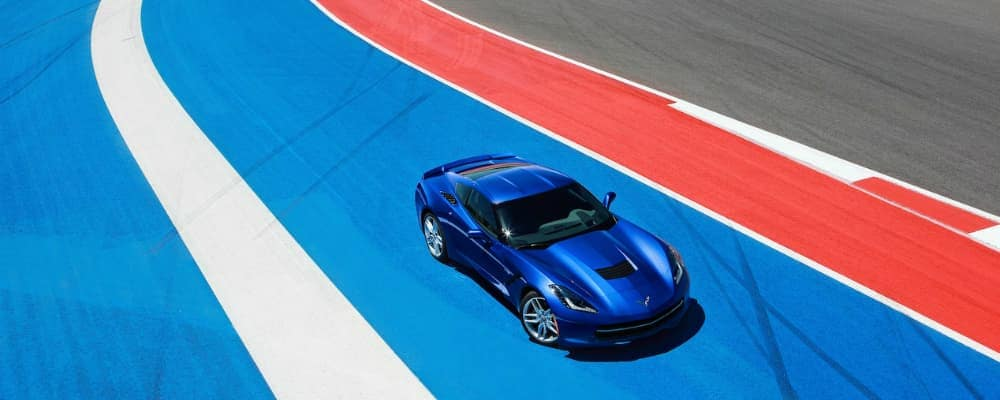 2019 Chevy Corvette Stingray in Blue on Performance Race Track