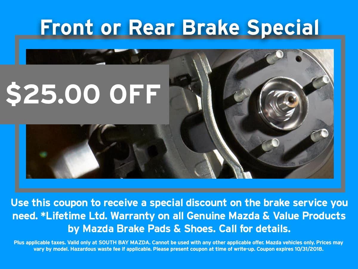 Mazda Brake Service Coupon