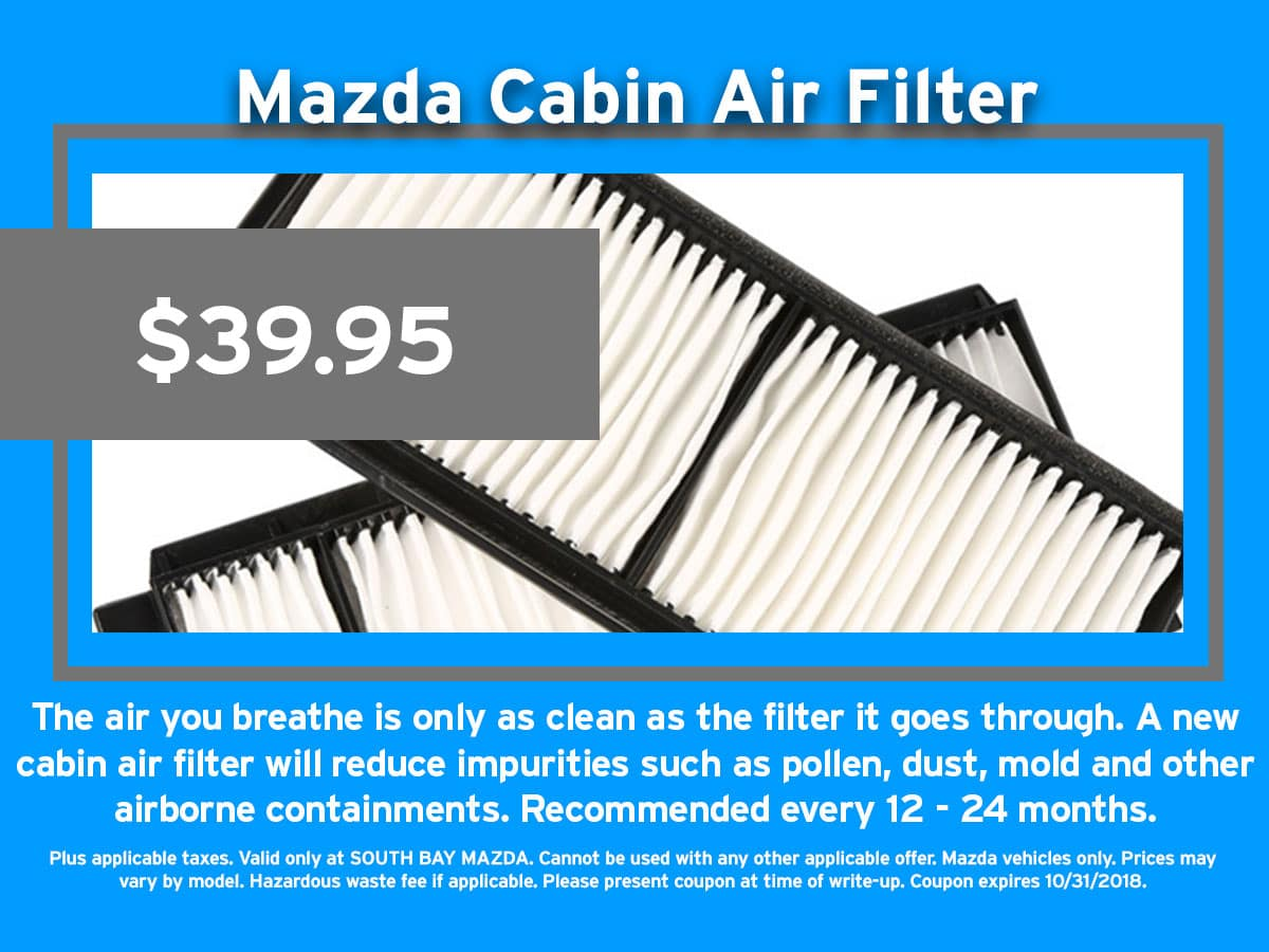 Schedule Service. Mazda Cabin Air Filter Coupon
