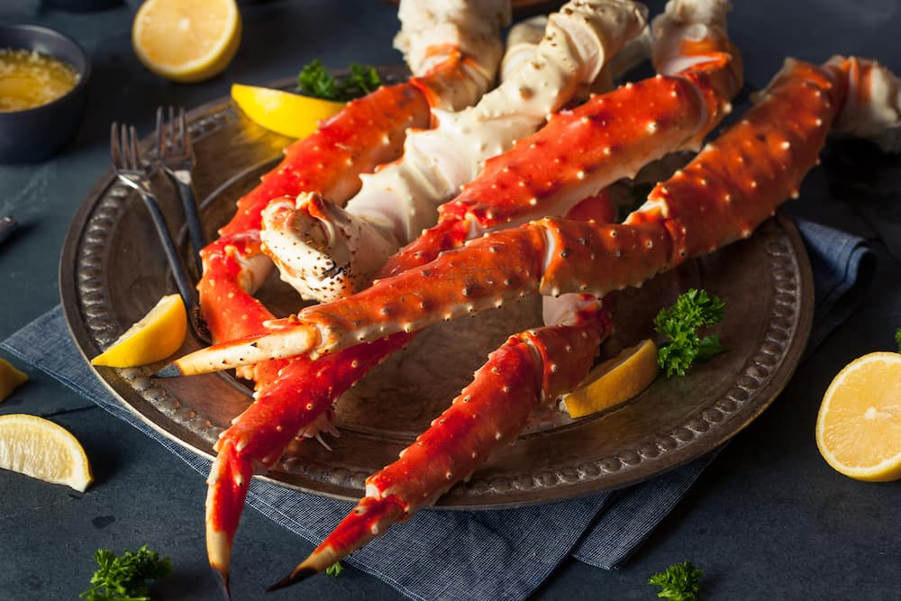 Cooked Organic Alaskan King Crab Legs with Butter
