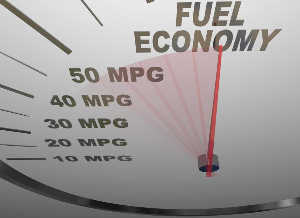 The words Fuel Economy on a vehicle speedometer with a red needle racing past numbers 10, 20, 30, 40, 50 MPG as the automobile achieves an improved efficiency rating as mandated by the government