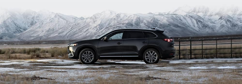 Mazda CX-9 Parked with Mountains in the Background