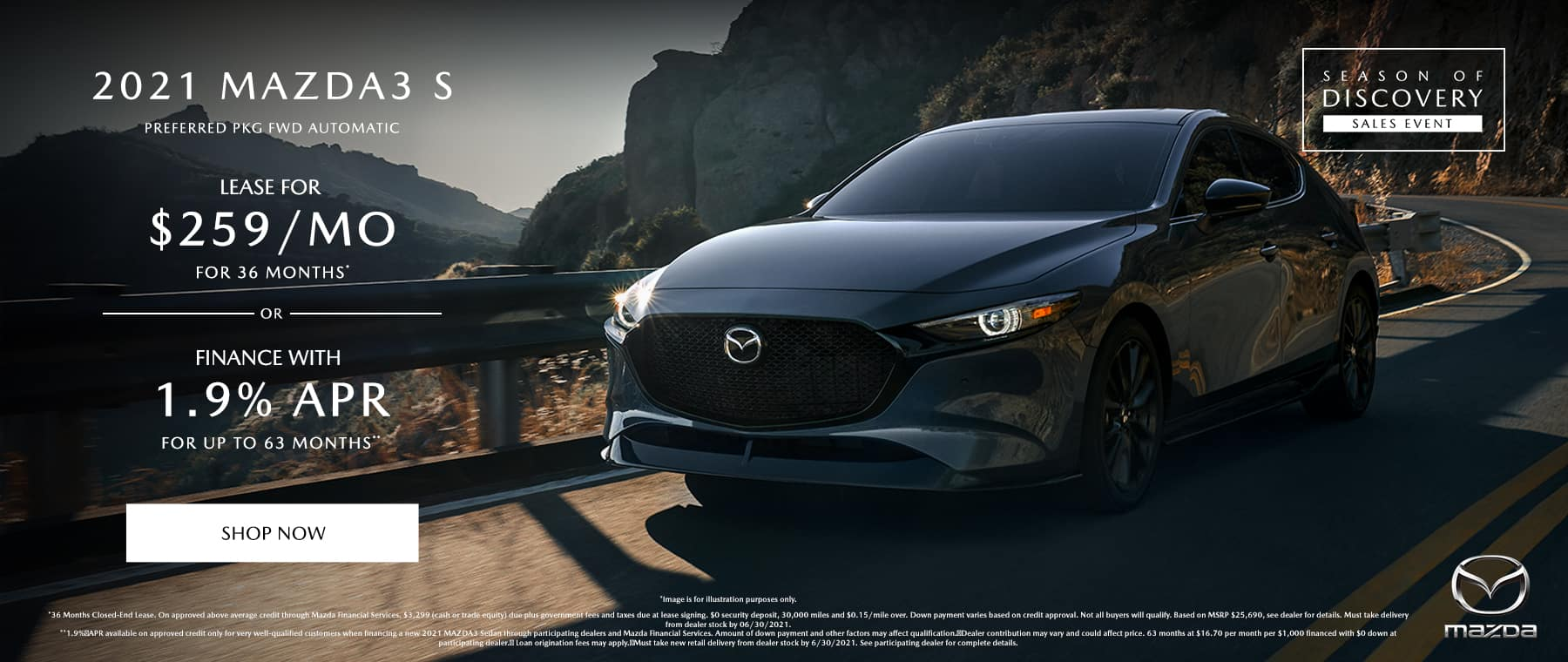 2021 MAZDA MAZDA3 SEDAN PREFERRED PKG FWD AUTOMATIC (MODEL#M3SPF2A), 1.9% APR for up to 63 Months**
