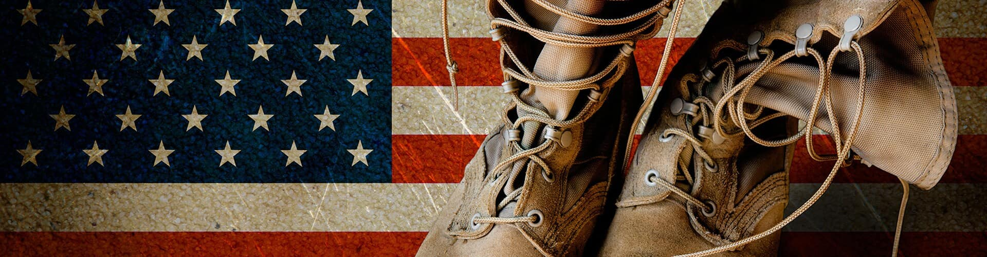 Pair of Worn boots and American Flag Background