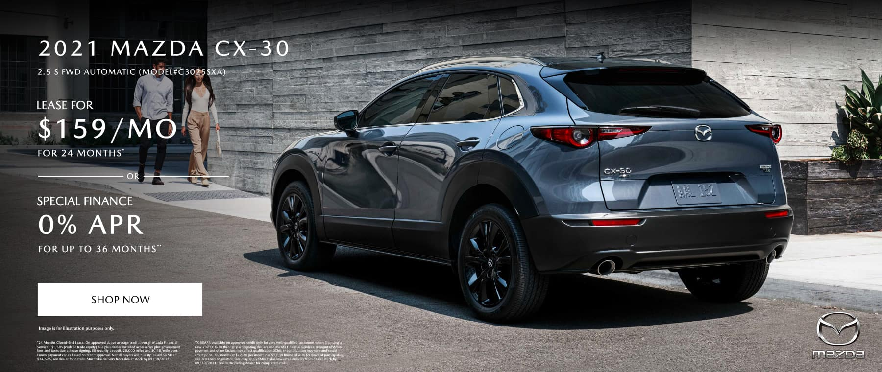 2021 MAZDA CX-30 2.5 S AWD AUTOMATIC (MODEL#C3025SXA) Lease Specials: $159/month @ 24 months* OR Special Finance: 0% APR for 36 Months**