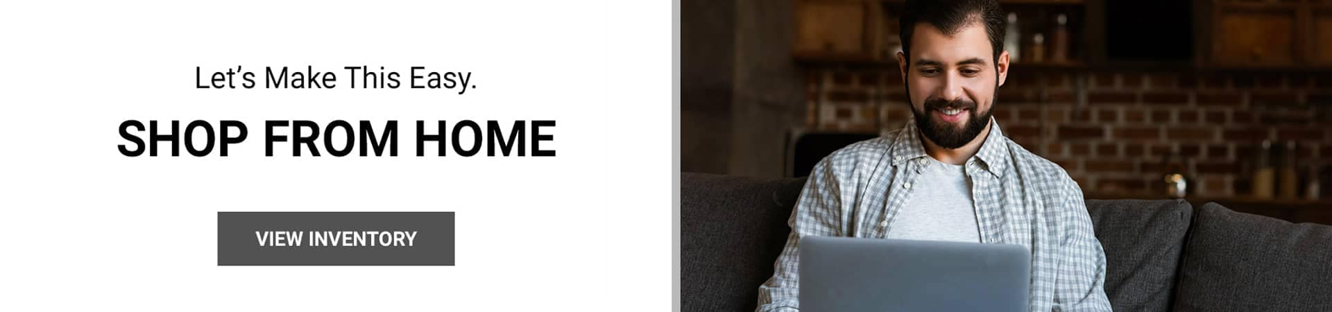 person using laptop, shop form home banner