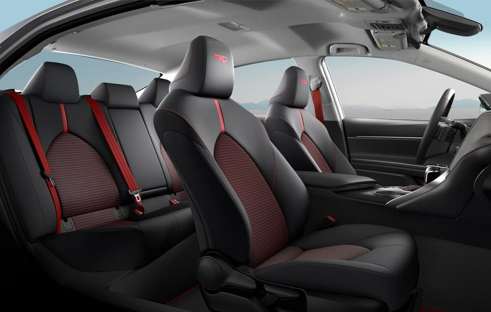 Toyota Camry Interior TRD SofTex® trim in Black with Red Accent Stitching