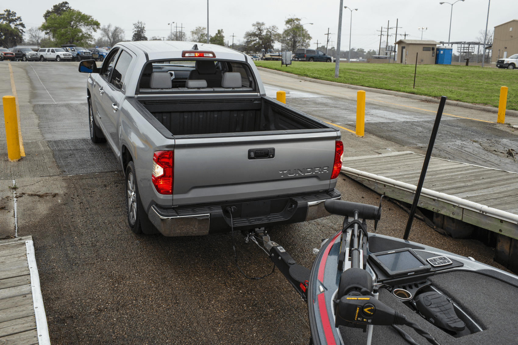 2021 Toyota Tundra Towing Boat Silver Dock