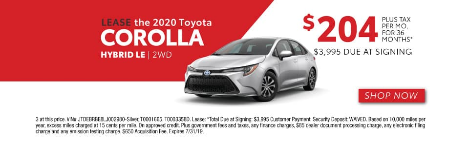 2020 COROLLA LEASE 204 / 36 MONTHS