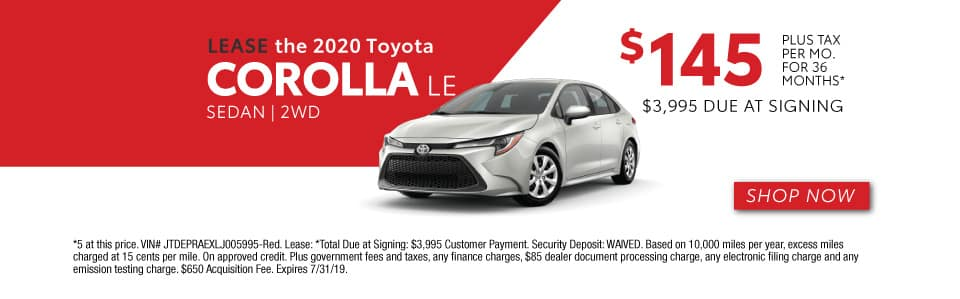 2020 COROLLA LEASE 145 / 36 MONTHS