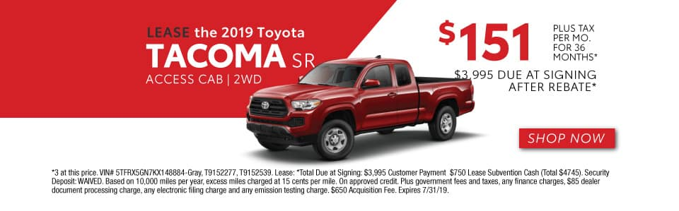 2019 TACOMA SR LEASE 151 / 36 MONTHS