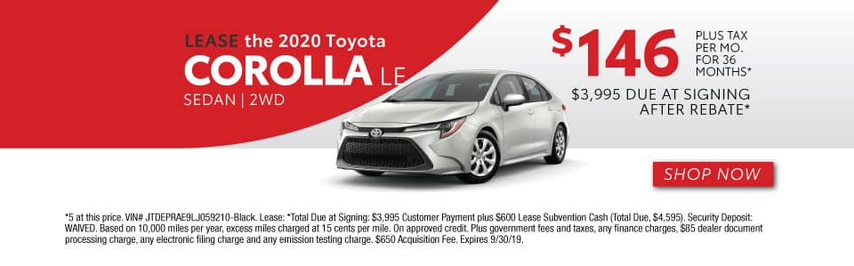 2020 COROLLA LEASE 146 / 36 MONTHS