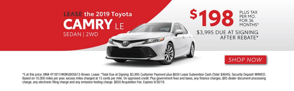 2019 CAMRY LE LEASE 198 / 36 MONTHS