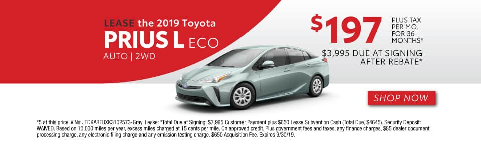 2019 PRIUS L ECO LEASE 197 / 36 MONTHS + TAX