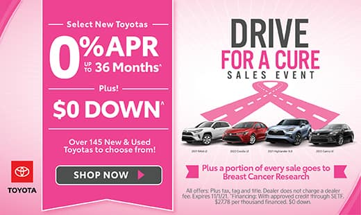 Select New Toyotas 0% APR