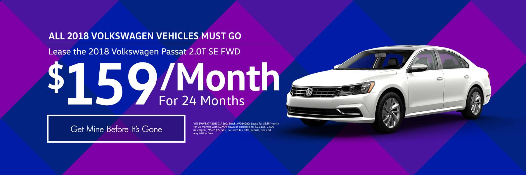 Lease the 2018 Volkswagen Passat 2.0T SE FWD for $159/month for 24 months - Get mine before its gone