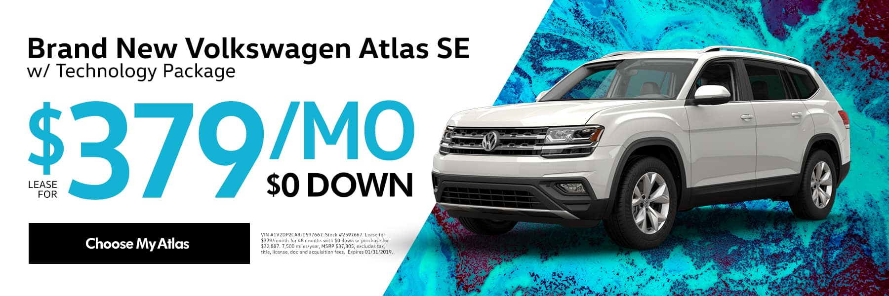 Lease the 2018 Volkswagen Atlas 2.0T SE w/Tech FWD for $379/month for 48 months - Choose my Atlas