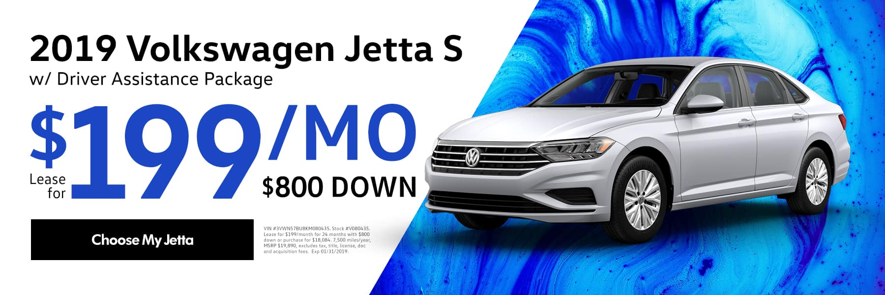 Lease the 2019 Volkswagen Jetta 1.4T S for $199/month for 48 months - Choose my Jetta