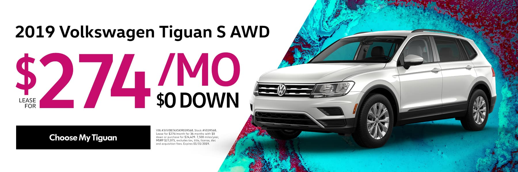 Lease the 2019 Volkswagen Tiguan S AWD for $274/month for 36 months - Choose My Tiguan