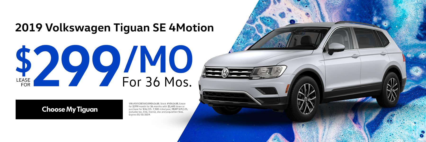 Lease the 2019 Volkswagen Tiguan SE 4Motion for $299/month for 36 months - Choose My Tiguan