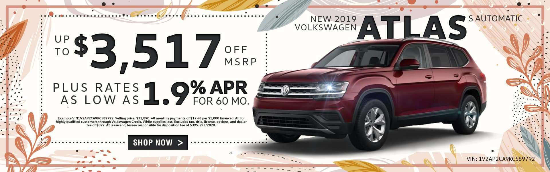 New 2019 Volkswagen Atlas S Automatic | Up To $3,517 Off MSRP Plus Rates As Low As 1.9% APR For 60 Months