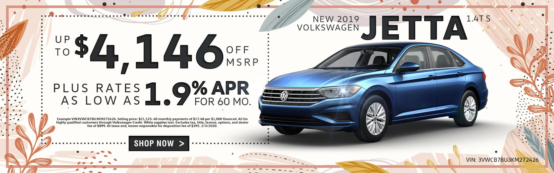 New 2019 Volkswagen Jetta 1.4T S | Up To $4,146 Off MSRP Plus Rates As Low As 1.9% APR For 60 Months