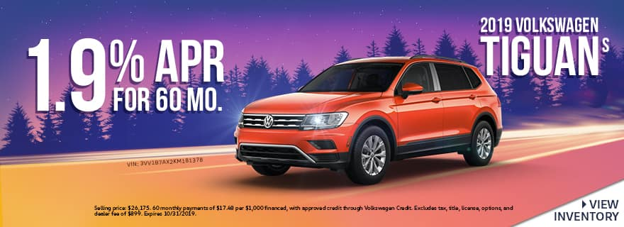 2019 Volkswagen Tiguan S | 1.9% APR For 60 Months