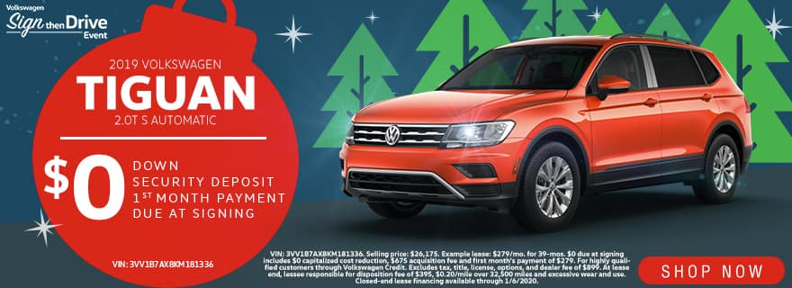 2019 Volkswagen Tiguan 2.0T S Automatic | $0 Down $0 Security Deposit $0 1st Month Payment $0 Due At Signing | Volkswagen Sign Then Drive Event