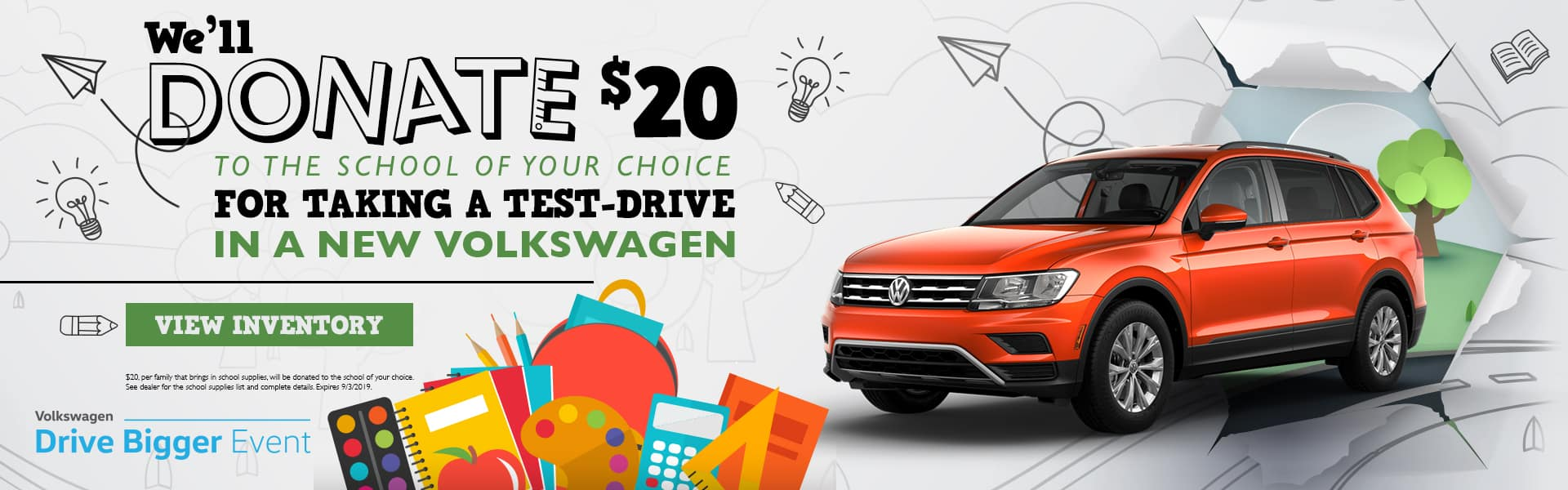 We'll Donate $20 To The School Of Your Choice For Taking A Test-Drive In A New Volkswagen