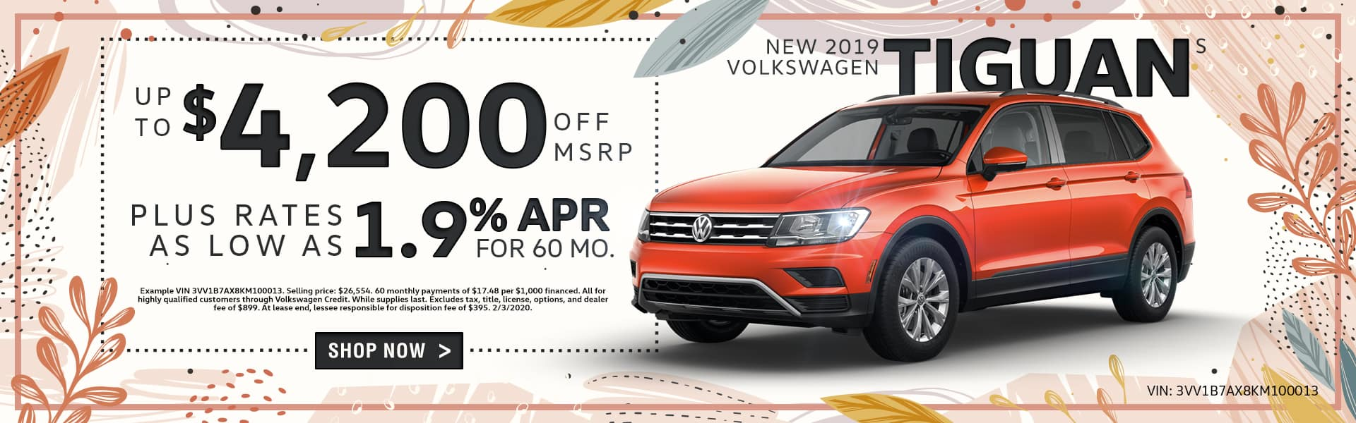 New 2019 Volkswagen Tiguan S | Up To $4,200 Off MSRP Plus Rates As Low As 1.9% For 60 Months