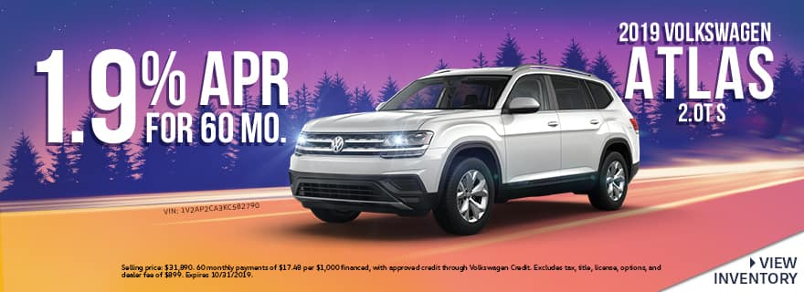 2019 Volkswagen Atlas 2.0T S | 1.9% APR For 60 Months