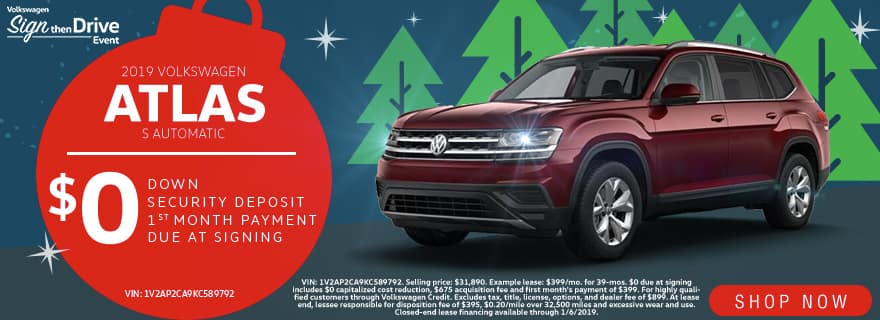 $0 Down $0 Security Deposit $0 1st Month's Payment $0 Due At Signing | 2019 Volkswagen Atlas S Automatic | Volkswagen Sign Then Drive Event