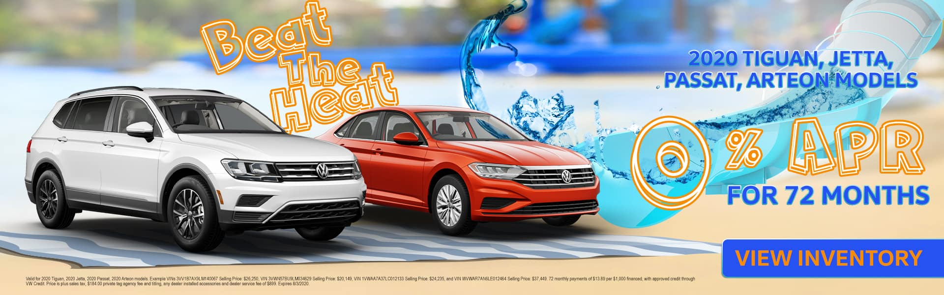Beat The Heat | 2020 Tiguan, Jetta, Passat, Arteon Models | 0% APR For 72 Months