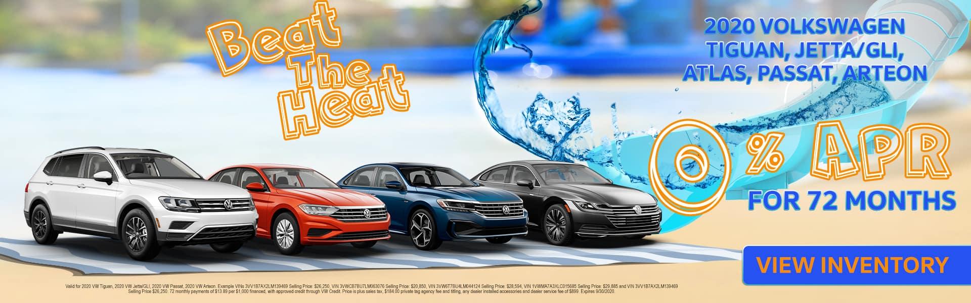 Beat The Heat | 2020 Tiguan, Jetta/GLI, Passat, Atlas, Arteon Models | 0% APR For 72 Months