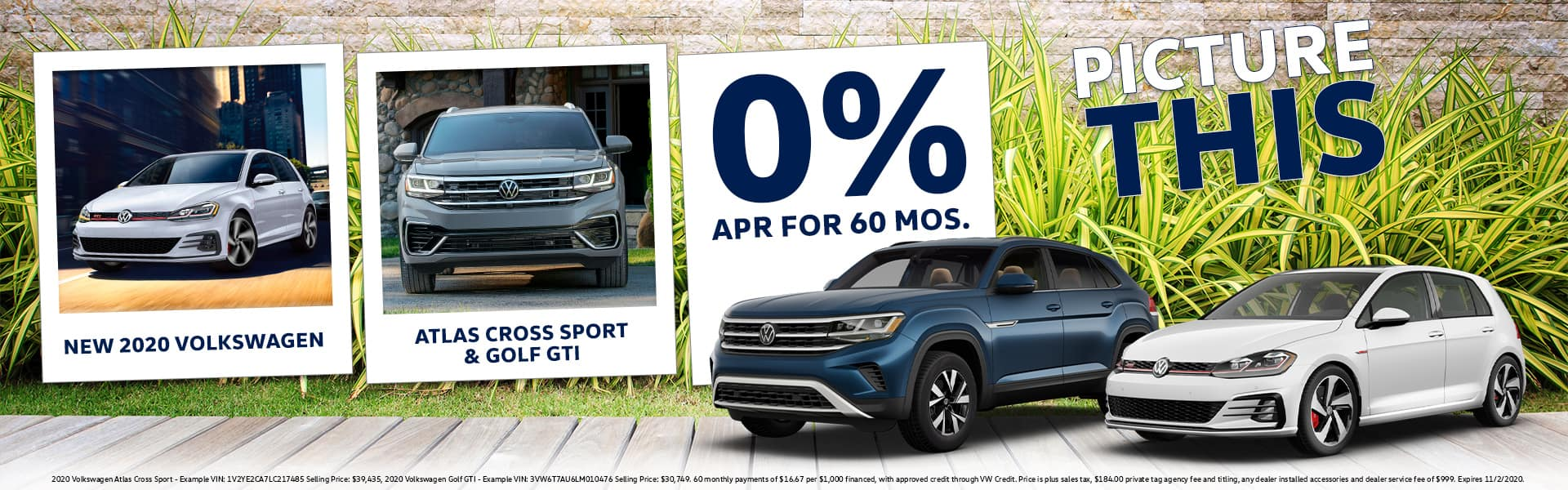 PICTURE THIS | 2020 Volkswagen Golf GTI & Atlas Cross Sport | 0% APR For 60 Months