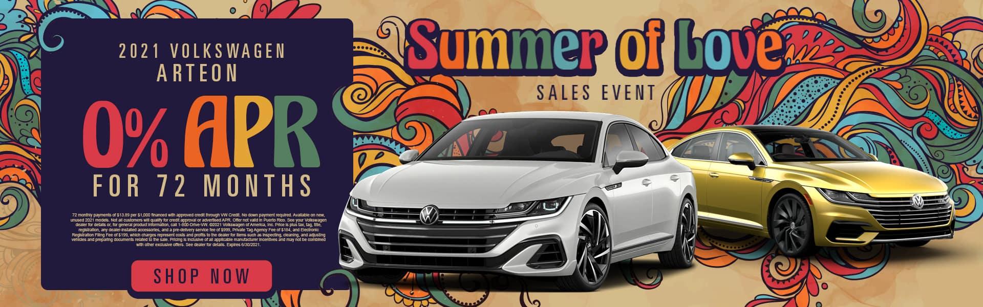 Summer of Love | 2021 Volkswagen Arteon | 0% APR For 72 Months