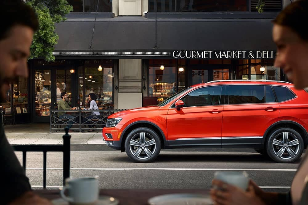 2019 Volkswagen Tiguan in front of deli