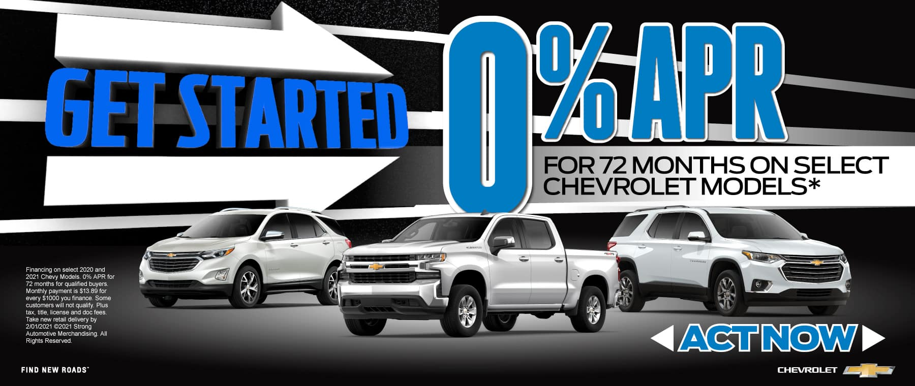 0% APR on Select Chevy models - Act Now