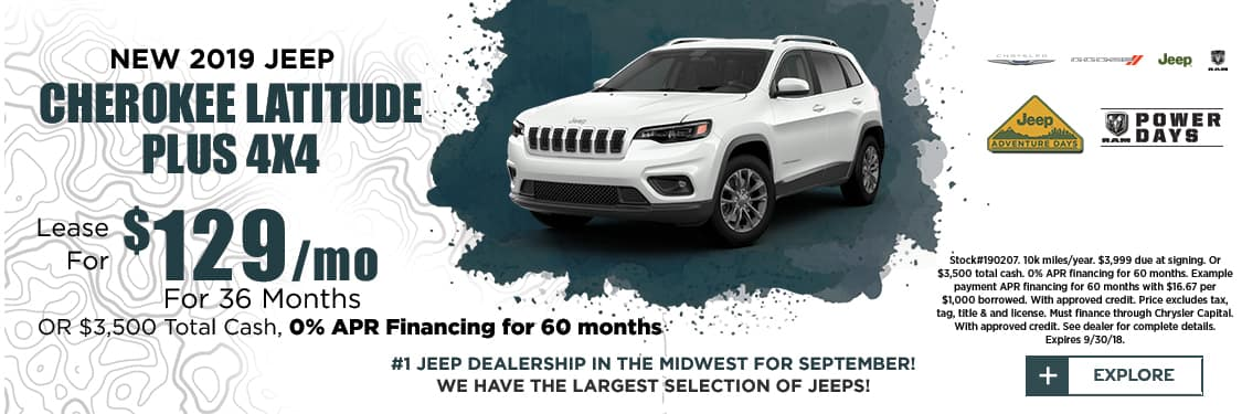 2019 Cherokee Latitude Lease Special