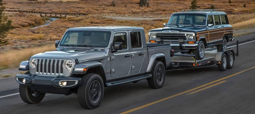 Jeep Gladiator towing Grand Wagoneer