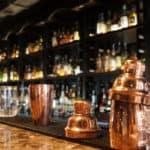 Bar top with various bar equipment