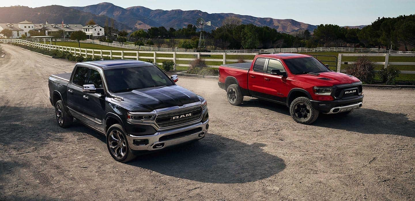 2019 RAM 1500 exteriors in red and black