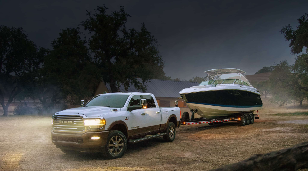 2021 Ram 2500 towing a boat